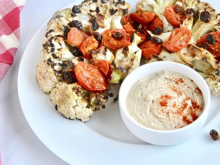 Grilled Cauliflower with Paprika Cashew Cream Sauce