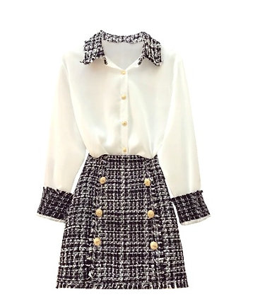 CoCo - Elegant 2 Piece Tweed Chiffon Blouse & Skirt