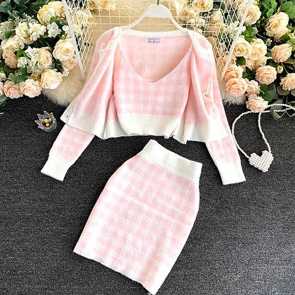 LL - 3pcs Set Cardigan + Camisole + Skirt Set
