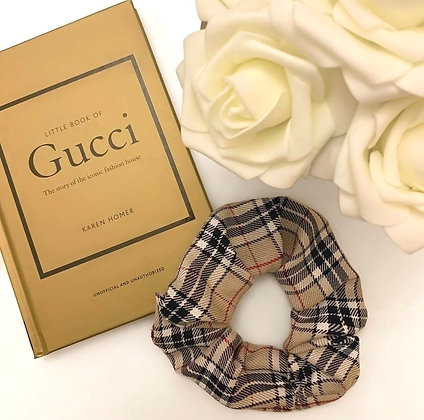 Large Nude checkered Scrunchie
