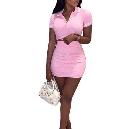 Ribbed 2pcs Top & Skirt Set - 2 Colours