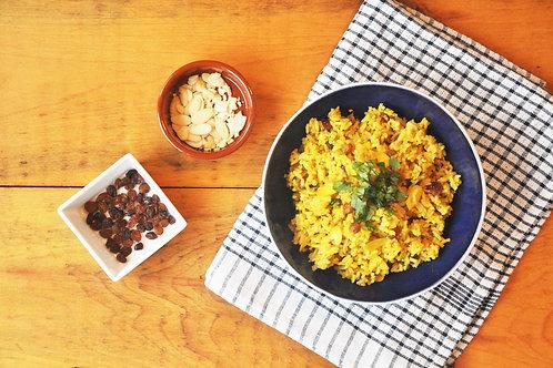 Golden Saffron Rice with Raisins and Almonds