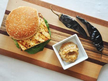 Marinated tofu burgers with chipotle-lime vegan mayonnaise