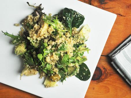 Summer quinoa salad with fresh greens