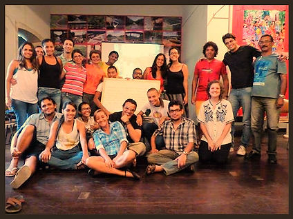 A equipe do Museu do Patrimônio Vivo em aula de Educação patrimonial