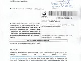 Sociedade civil provoca embargo de obra no Porto do Capim