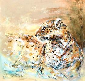 Julia Cassels - Wildlife Artist - 'Leopard', Acrylic on linen board,  61 x 61cm - Framed  £3,750.00 / SOLD