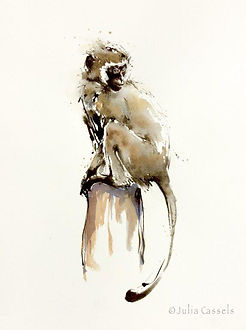 Julia Cassels - Wildlife Artist, 'Monkey Days', Ink and Watercolour, 40 x 28cm, SOLD