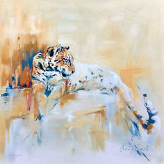 Julia Cassels - Wildlife Artists- 'Flick of the Tail', Oil on canvas, 60 x 60cm, SOLD