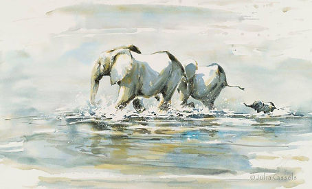 Julia Cassels - Wildlife Artist - 'River Crossing', Watercolour,  44 x 70cm, SOLD