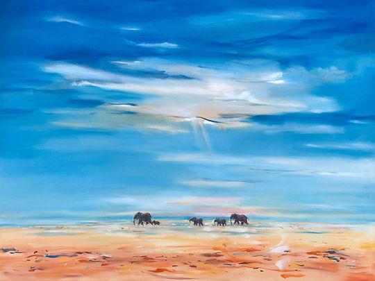 Julia Cassels - Wildlife Artist - 'Under African Skies' , Oil on canvas, 80 x 100cm, SOLD