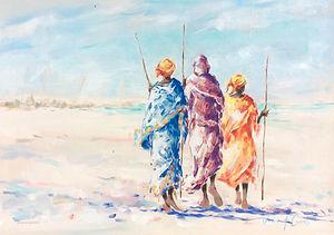 Julia Cassels - Wildlife Artist - 'Fisherwomen of Zanzibar', Oil on canvas, 42x60cm, SOLD