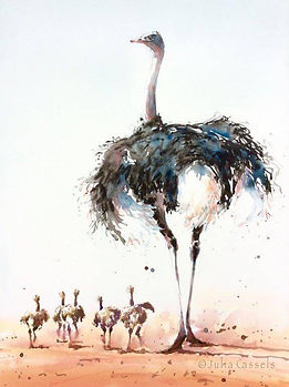Julia Cassels - Wildlife Artist - 'Ostrich & Chicks', Watercolour, 70 x 49cm, SOLD