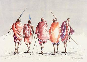 Julia Cassels - Wildlife Artist - 'Maasai', Watercolour, 80 x 110cm, SOLD