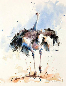 Julia Cassels - Wildlife Artist - 'Ostrich Run', Watercolour , 42 x 32cm, SOLD