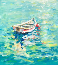 Julia Cassels - Wildlife Artist - 'Greek Boat', Oil on board, 40 x 30cm, SOLD
