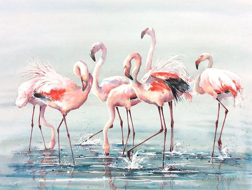 Julia Cassels - Wildlife Artist - 'Flamingo Time', Watercolour, 82 x 108cm, SOLD