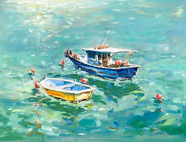 Julia Cassels - Wildlife Artist - 'Greek Boats, Zakynthos'   Oil on board  28 x 38cm - Unframed    £450.00