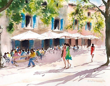 Julia Cassels - Wildlife Artist - 'French Café, Provence',  Watercolour, 50 x 70cm, SOLD