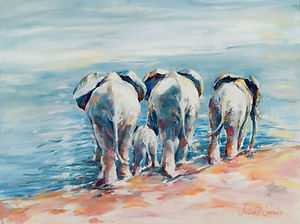 Julia Cassels - Wildlife Artist - 'At the Water's Edge', Oil on canvas, 42 x 60cm, SOLD