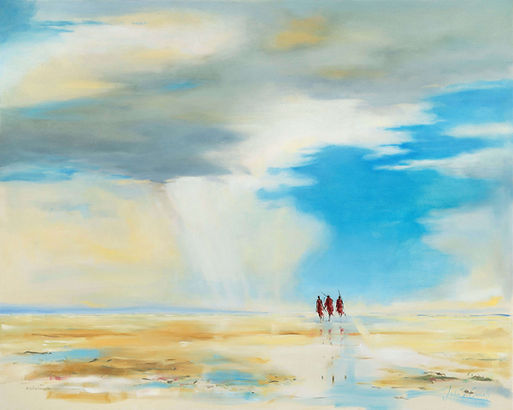 Julia Cassels - Wildlife Artist - 'Out on the Plains', Oil on canvas, 80 x 100cm, SOLD