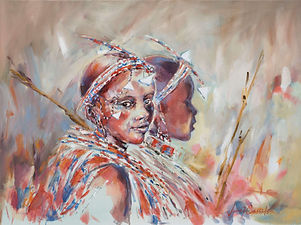 Julia Cassels - Wildlife Artist - 'Young Maasai Girls' - Oil on canvas,  46 x 61cm  SOLD