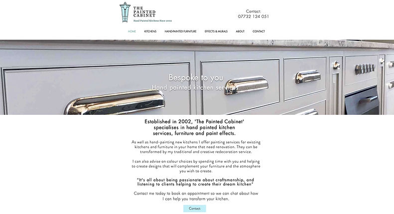 The Painted Cabinet website created by One2One Website Design