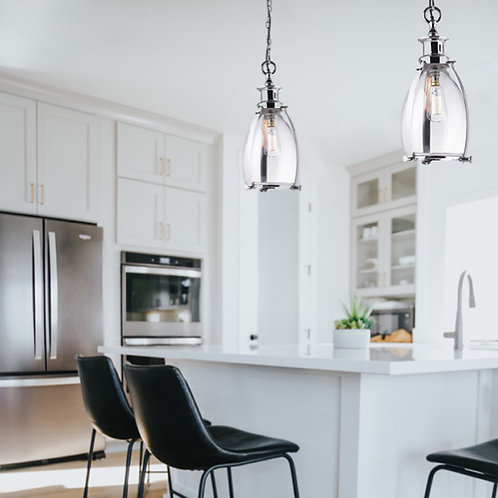 Polished Nickel Glass Ceiling Pendant