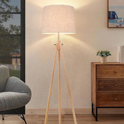 Tripod Floor Lamp Wooden and Beige Cotton