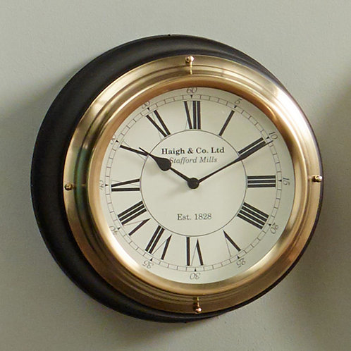 Antique Brass Wall Clock with Black Surround