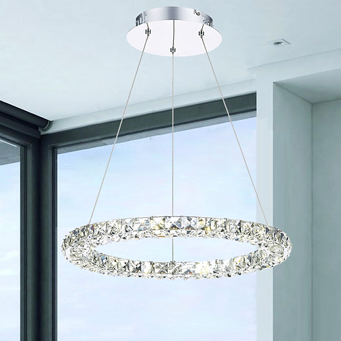 Crystal & Polished Chrome LED Pendant