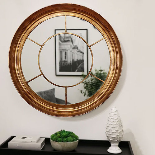 Large Round Gold Window Effect Wall Mirror
