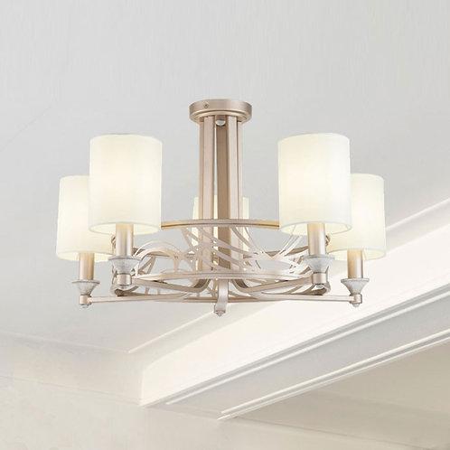 5 Light Pendant Light in Cream and Gold