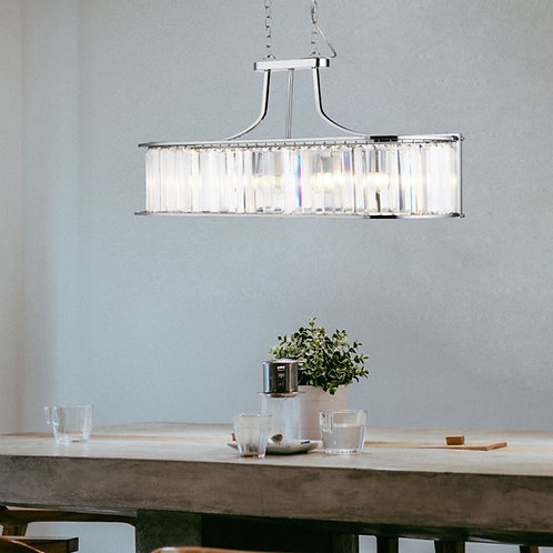 5-Light Chrome and Crystal Glass Ceiling Pendant