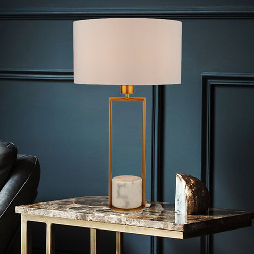 Modern Brushed Gold Table Lamp with Marble Base