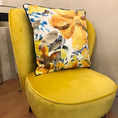 Mustard Velvet Chair with Walnut Effect Legs