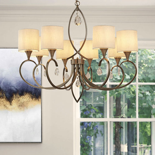 8 Light Antique Brass Pendant with Curved Arms and Crystal Droplets