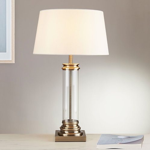 Glass Column and Antique Brass Table Lamp