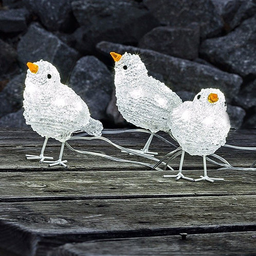 Set of Three LED Acrylic Birds