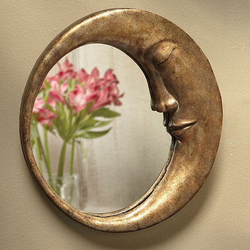 Man in the Moon Mirror Antique Gold Mirror
