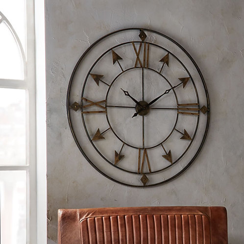 Large Roman Numeral Wall Clock in Antique Bronze and Gold Metal
