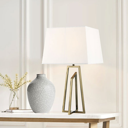 Modern Brass Table Lamp with Square Shade