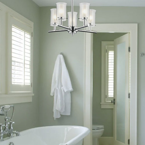 5-Light Modern Polished Chrome Bathroom Ceiling Light