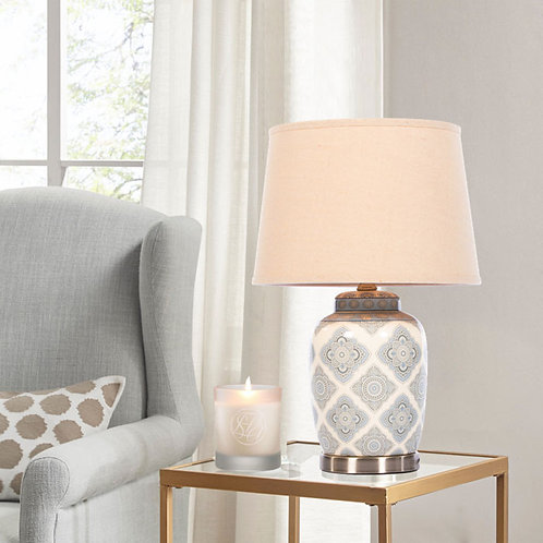 Satin Silver Ornate Diamond Table Lamp in Two Sizes