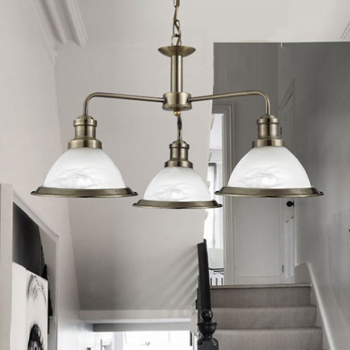 3 Light Pendant with Marble Effect Shades