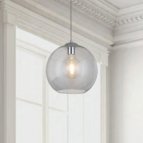 Round Clear Glass Pendant in Chrome