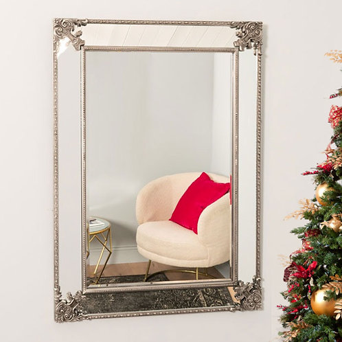 Large Decorative Silver Wall Mirror