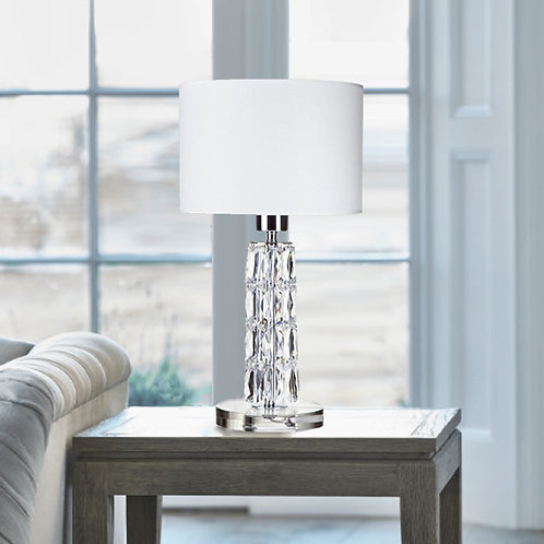 Crystal Effect Table Lamp with White Shade