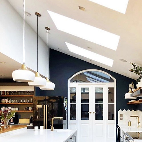 Matte White and Brass Curved Pendant Light