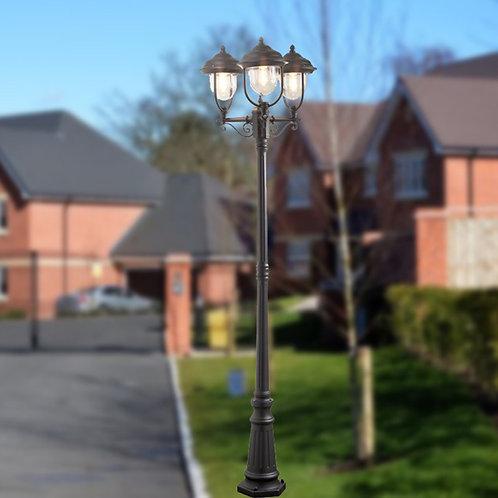 Matt Black Three Light Lamp Post